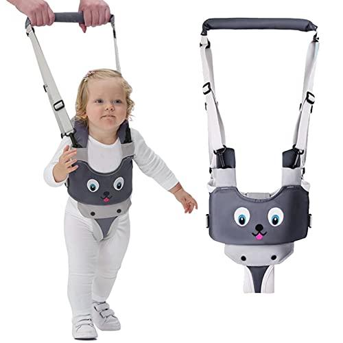 IULONEE Ayudante para caminar para bebés Asa ajustable Asistente para caminar para niños pequeños Niño de pie y para caminar Riendas de cinturón Arnés de seguridad para niños de 7 a 24 meses (Gris)