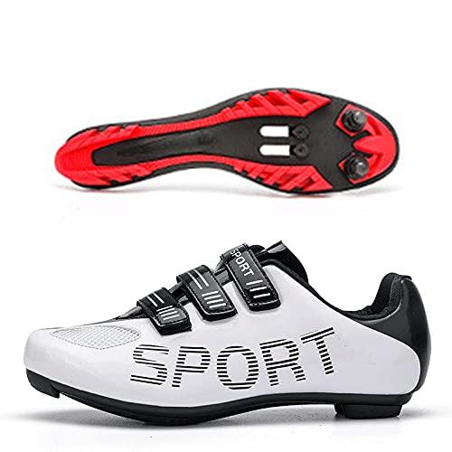 CHUIKUAJ Zapatillas de Ciclismo Hombre Mujer MTB Bicicleta de Montaña Zapatillas de Ciclismo Compatibles con Pedales Peloton/Look Delta con Tacos Delta,White-38EU