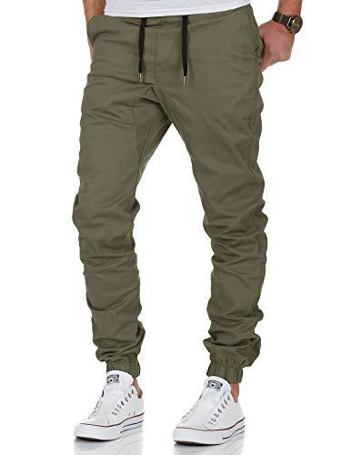 Amaci&Sons Herren Stretch Jogger Basic Chino Jeans Hose Cargo 7002 Olive W31