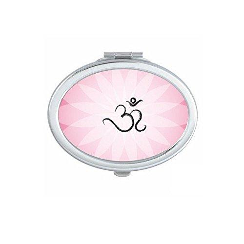 Boeddhisme Religie Boeddhistische Roze Lotus Sanskriet Asymmetrische Abstract Ronde Illustratie Patroon Ovaal Compact Make-up Pocket Spiegel Draagbare Leuke Kleine Hand Spiegels