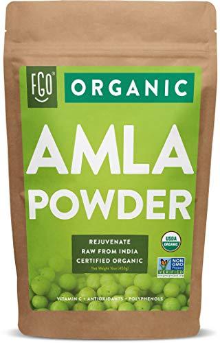 Organic Amla Powder (Amalaki) | 16oz Resealable Kraft Bag (1lb) | 100% Raw From India | by FGO