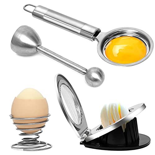 Yewrrite Eierschneider Anzüge 4 Stück, Edelstahl Eieröffner, 3-in-1 Eierschneider, für weiche hartgekochte Eier Eierköpfer + einem Eierbecher, Eidottertrenner, Küchenwerkzeug