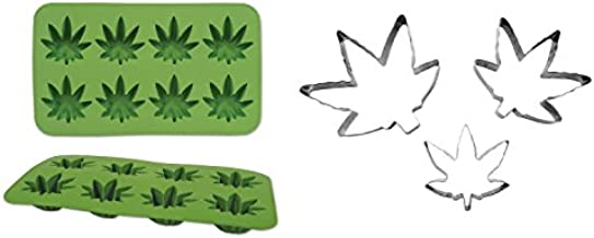 Marijuana Leaf Silicone Food Ice Mold and Cookie Cutters Set, Green/Silver, One Size