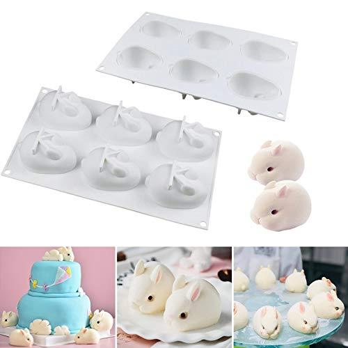 iSuperb Hase Kuchenform 3D Kaninchen Silikon Form Kuchenform 6 Hohlraum Silikon Mousse Formen DIY zum Backen Geschenk Schokolade, Fondant, Gelee, Pudding, Süßigkeiten, Desserts (Weiß)
