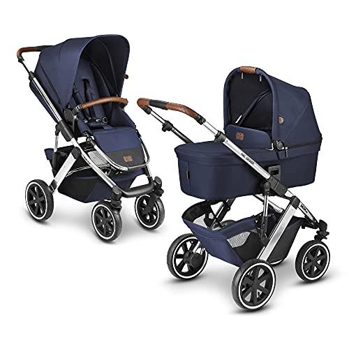ABC Design 2 in 1 Kinderwagen Salsa 4 Air Diamond Edition – Kombikinderwagen für Neugeborene & Babys – Inkl. Sportsitz Buggy & Tragewanne – Radfederung & Luftreifen – Farbe: navy