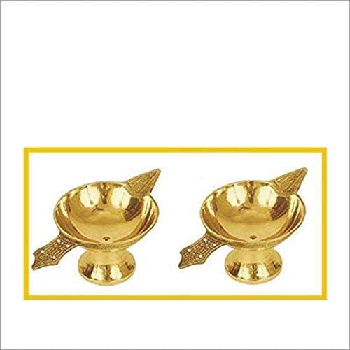 Family Cart 2 x Pure Brass Arti Diya Deepak Wick Lamp Deep Oil Ghee Jyot Diya Stand for Pooja product image