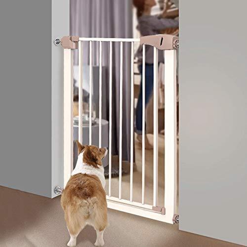 Kratka schodowa Pet Tor regulowana bramka bezpieczeństwa dla dzieci i zwierząt bramka bezpieczeństwa z automatycznym zamknięciem dwudrożnym otwartymi drzwiami, biała, wysokość 76 cm, szerokość 75-1
