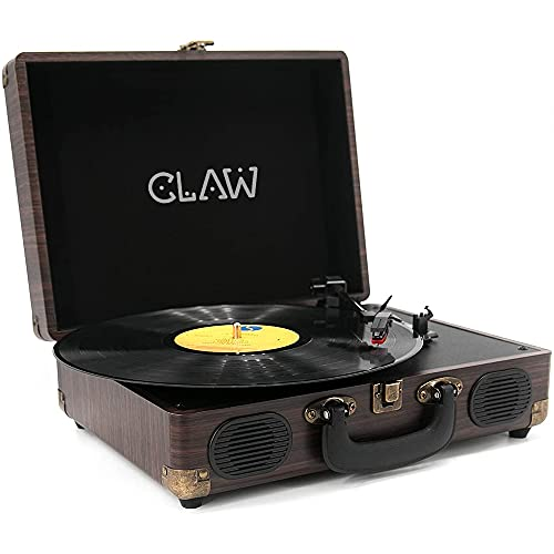 CLAW Stag Portable Vinyl Record Player Turntable with Built-in Stereo Speakers (Brown)