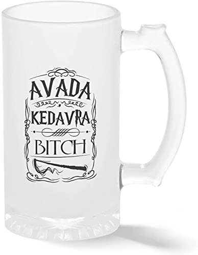 Trendy Avada Kedavra Bitch Pint - Taza de cristal esmerilado transparente Stein para cerveza (500 ml)