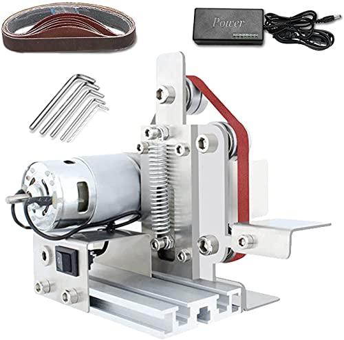 wsbdking Desktop Mini Electric Belt Sander, Polishing Grinding Machine Knife Apex Edge Sharpener with 96W 7-Speed Control Power Supply and 10 Sanding Belts (Color : Type 20)