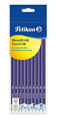 Pelikan 811132 Bleistift mit Radiergummi, HB, Sechskant, 10 Stück