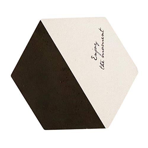 Sharplace Dessous de Verre Hexagonal Plateau Porte-Verre Sous-Verre de Table Tapis Coaster Lavable - Noir blanc