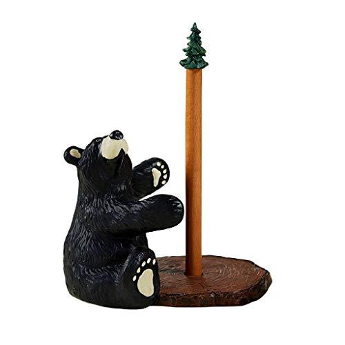 Portarrollos de papel de pie con oso de pie, soporte para rollo de cocina de madera, para mesa de armario, 22 x 23,5 cm