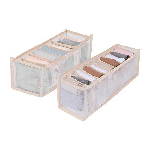 None/Brand Yemiany Unterwäsche Box Organizer,Unterwäsche Organizer,2PCS Faltbare Aufbewahrungsbox aus verdicktem Netz,Schubladenteiler mit 7 Gittern und 11 Gitterfach für BHS,Socken,Schals,BH(Beige)