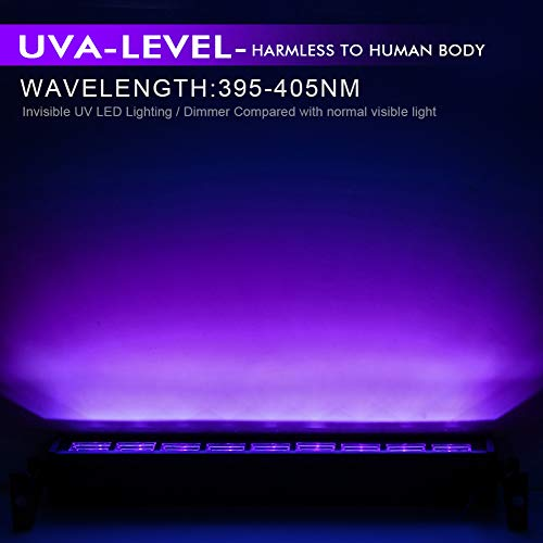OPPSK Black Light for Home Party, 27W 9LED UV Blacklight Bar fit for 16x16ft Glow in the Dark Party Supplies, Black Lights for Bedroom Poster Birthday Wedding Home Decoration Stage Lighting