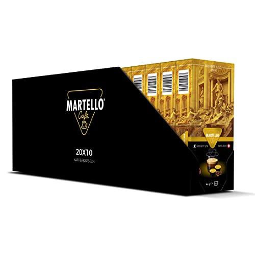 MARTELLO Kaffeekapseln   GOURMET GOLD   UTZ Zertifiziert   Nachhaltig und Fair   Von Hand Gepflückt   Master Packung 200 Kapseln (20 x 10), Für MARTELLO-Kapselmaschinen