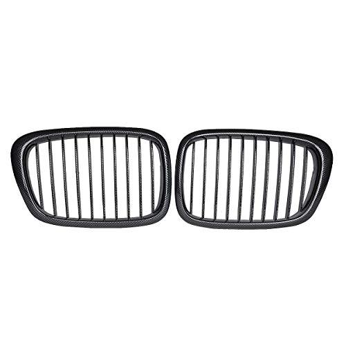 Reemplazo de la Parrilla Ridney, Listones duales Negros 2pc Coche Shine para BMW E39 5 Series M3 1997 1998 1999 2000 2001 2002 2003,Carbon Fiber