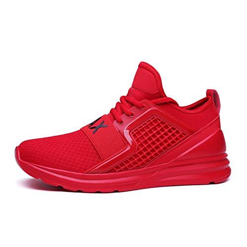 Zapatillas deportivas para hombre y mujer, antideslizantes, con cordones, para gimnasio, caminar, correr, etc., color Rojo, talla 40 EU