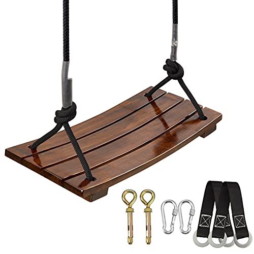 Tree Swing,Pellor Wood Swing for Kids Adults,Wooden Swing Sets for Backyard,Garden,Yard,Playground,440lbs,Indoor Outdoor Hanging Rope Swing Seat (17.7 x7.9 x0.4inch)