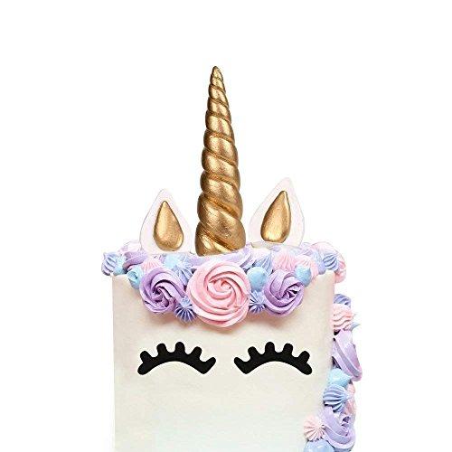 AIEX Einhorn Kuchen Topper Gold Cake Topper für Geburtstag Hochzeit Party Kuchendeko, Niedlich Horn Ohren und Wimpern Kuchen Torte Deko(5 Stücke)