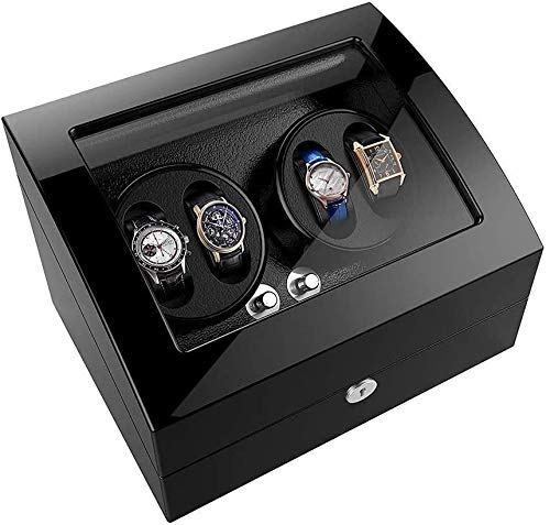 ZouYongKang Enrollador para Relojes automáticos, Almohadas elásticas Premium insertadas, 4 Relojes de Pulsera + 6 Estuche de Almacenamiento Reloj automático Winder 5 Modos de rotación