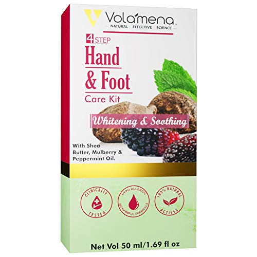 VOLAMENA WITH DEVICE 4 Step Hand and Foot Care Kit Whitening and Soothing with Shea Butter, Mulberry and Peppermint Oil (50 ml)