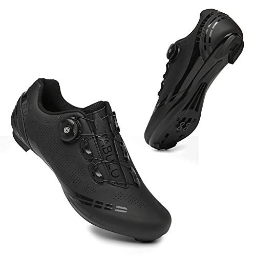 ASORT Zapatillas de Ciclismo para Hombre Spin Shoestring con Cleat Peloton Shoe Compatible con SPD y Delta Lock Pedal Bike Shoes,Black-43EU