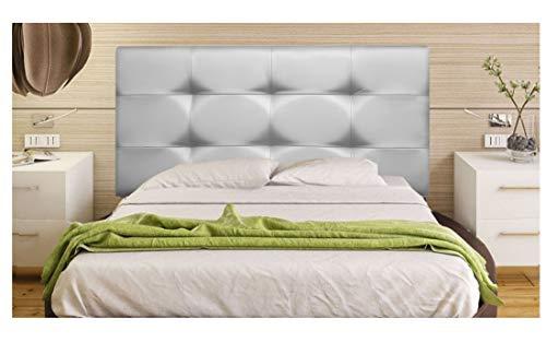 ONEK-DECCO Cabecero tapizado en Polipiel de Dormitorio Tennessee Medidas cabecero de Cama niño, Juvenil y Matrimonio Cabezal Blanco, tapizado, Acolchado (90x70, Plata)