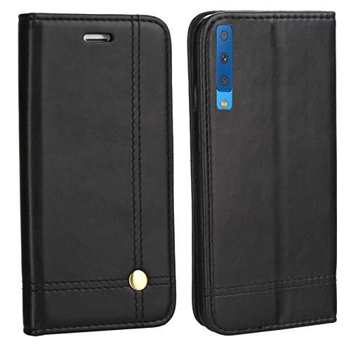 MOELECTRONIX Edle Buch Klapp Tasche SCHWARZ Flip Book Hülle Schutz Hülle Etui passend für Samsung Galaxy A7 2018 DuoS SM-A750FN/DS