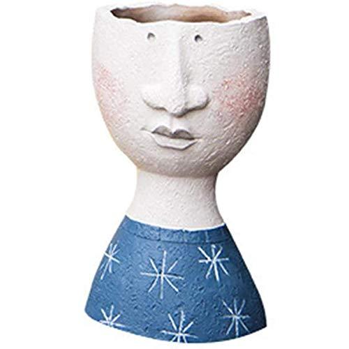 Vintage Kunst Portret Sculptuur Bloempot Binnen Buiten Hars Hoofd Artistieke Bloempot Creatief Gezichtsontwerp Gedroogde Bloemenvaas Tuindecoratie Bloempot Blauw,Blue