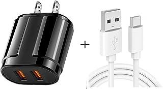 شواحن حائط الهاتف المحمول Dual USB Portable Travel Charger + 1 Meter USB to Type-C Data Cable, US Plug