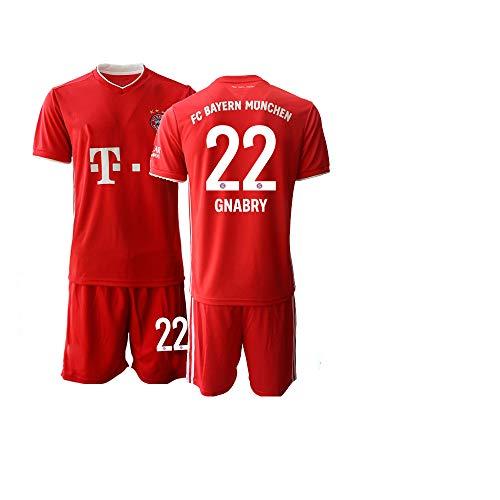 JEEG 20/21 Kinder GNABRY 22# Fußball Trikot Jugend Trainings Anzug T-Shirt Set (Kinder Größe 4-13 Jahre) (24)