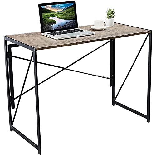 "Home Office Desk 39"" Easy Assemble Office Desks for Home Foldable Computer Desk Small Desks for Small Spaces Industrial Style Wooden Desks for Home Office, Brown"