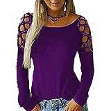 Chemisier Femme Top Femme Sexy Mode Col Rond Nouvelle Couleur Unie Creuse Manches Longues Mode Ete Confortable Chemise Femme Classique Élégante Polyvalente B-Purple M