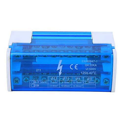 Scatola di distribuzione morsetti, scatola di giunzione a 2 livelli 211, guida DIN monofase a 2 livelli con parapolvere trasparente 211, morsettiera/m