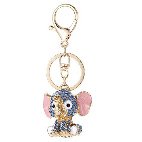 Llavero con colgante de animal para bolso, bolsa de cristal de estrás y colgante de regalo (color: elefante 1)