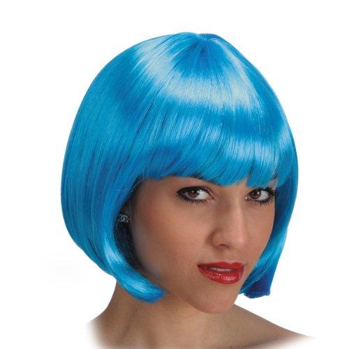 DC Perruque Carre Pin Up 60's 70's 80's - Frange - Synthetique - Bleu Clair - 25