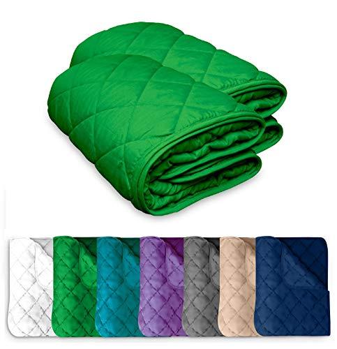 2 Stück Microfaser Sommer Steppbett 135x200 OekoTex – grün Kochfest 95° Sommerbettdecke Leichtsteppbett für Camping und heiße Tage I ohne Bezug verwendbar I farbig & bunt I 2er Set