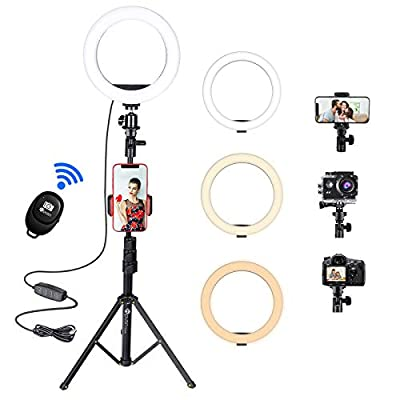 Selfie Ring Light with Tripod Stand & Cell Phone Holder, HPUSN Dimmable Led Beauty Camera Ringlight for Makeup/Photography/YouTube Videos/Vlog/TIK Tok/Live, Compatible with iPhone & Android by VICIALL