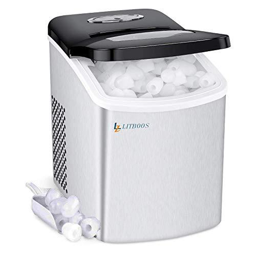 LITBOOS Encimera portátil de los fabricantes de hielo, máquina para hacer hielo de pellets de acero inoxidable – 9 balas de cubitos de hielo, 26 lbs/24H Producción, mini máquina de hielo para el hogar con cesta de cuchara