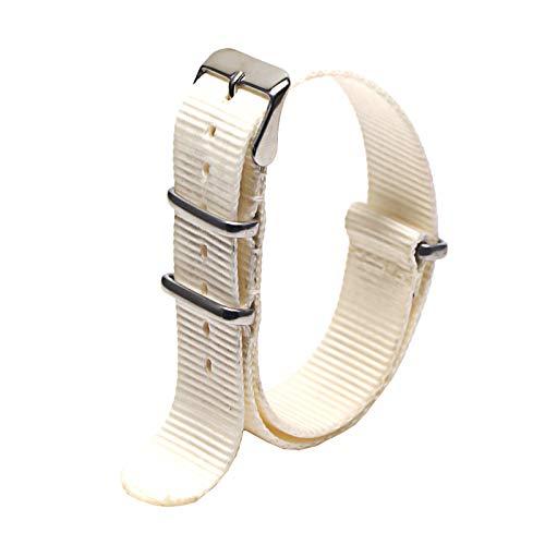 Correa de Reloj de Nylon Militar de la OTAN 18mm 20mm 22mm Correa de Repuesto Mira la Correa del Reloj Correa de Nylon, Blanco, 20mm