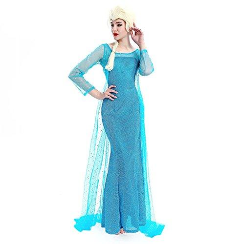 NNDOLL Disfraz DE Mujer Carnaval Princesa Vestido Elsa Vestida para Adulto de 12 años (S EU36)