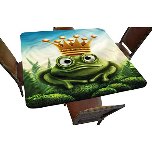 Decorative Elastic Edged Square Fitted Tablecloth,Frog Prince on Moss Stone Polyester Indoor Outdoor Fitted Table Cover for Parties, Weddings, Kitchen Fit Square Table up to 24'
