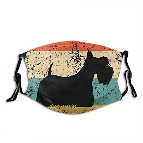 Scottish Terrier Vintage Retro Scottie Dog Circle Icon Animal Dog Print Washable Mouth Unisex Windproof and Dustproof Mouth Mask,Face Cover with Fliters