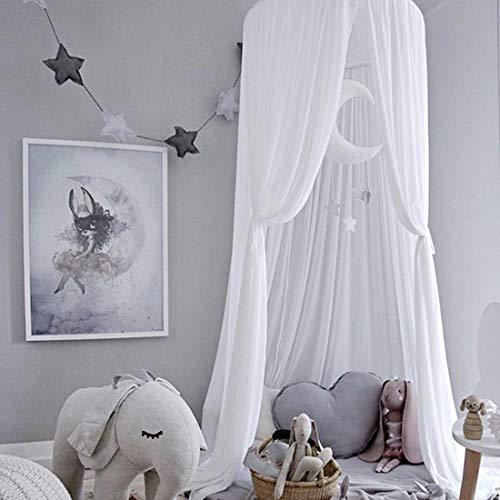 K9CK Betthimmel, Baby Baldachin Betthimmel Kinder Babys Bett aus Chiffon Insektennetz Deko Moskitonetz für Kinderbett - Weiß