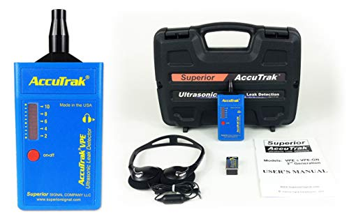 Superior AccuTrak VPE Basic Ultrasonic Leak Detector Basic Kit, Includes VPE Leak Detector, Headset, Battery, Hard Case