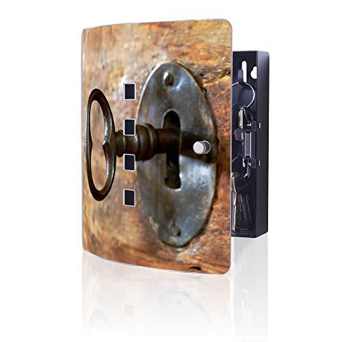 banjado Design Schlüsselkasten aus Edelstahl | 10 Haken für Schlüssel | praktischer Magnetverschluss | 24x21,5cm Motiv Schlüssel