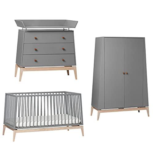 Leander Luna - Lettino da neonato con fasciatoio e armadio, misura grande, colore: grigio/quercia