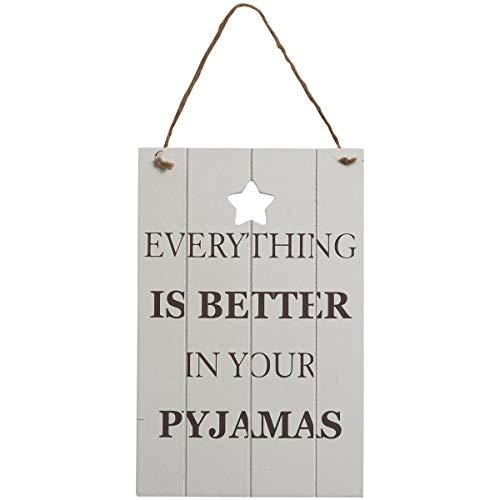 Transomnia Tutto è meglio nel tuo pigiama Insegna in legno