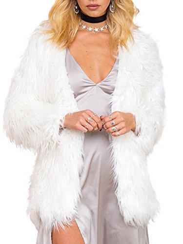 Simplee Apparel Women's Long Sleeve Fluffy Faux Fur Warm Coat,White,Size : Asian L,US 6
